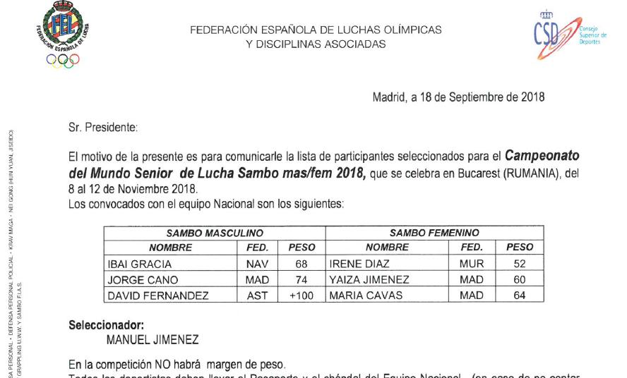 Yaiza Jimenez, María Cavas y Jorge Cano seleccionados para el campeonato del Mundo  de Sambo